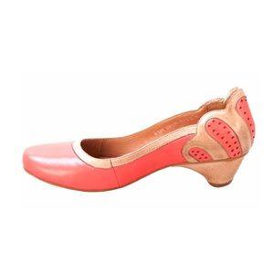 Miz Mooz Athena Retro Kitten Heel Coral Leather 8